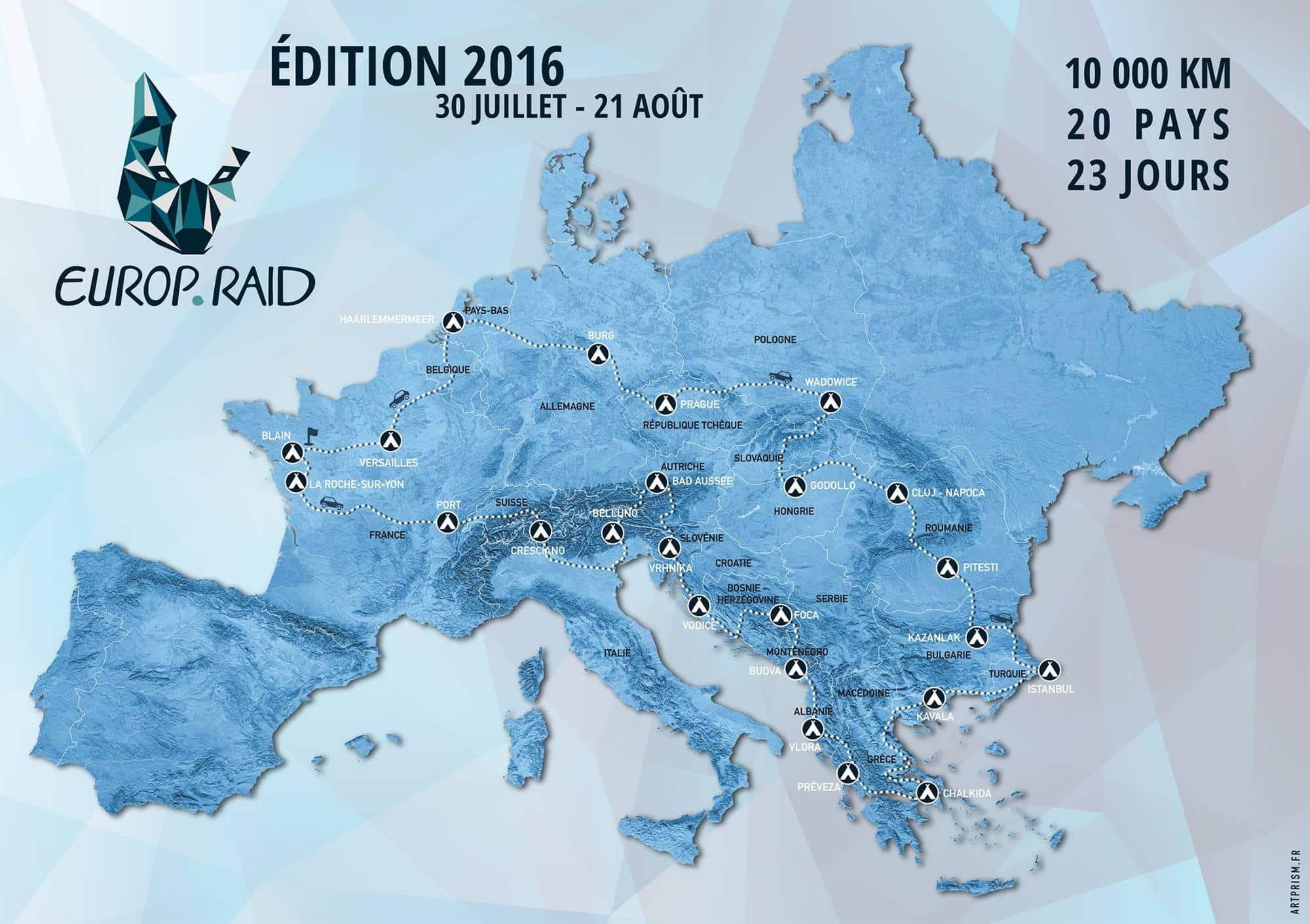 L'itinéraire des équipages Europ'Raid pour l'édition 2016.
