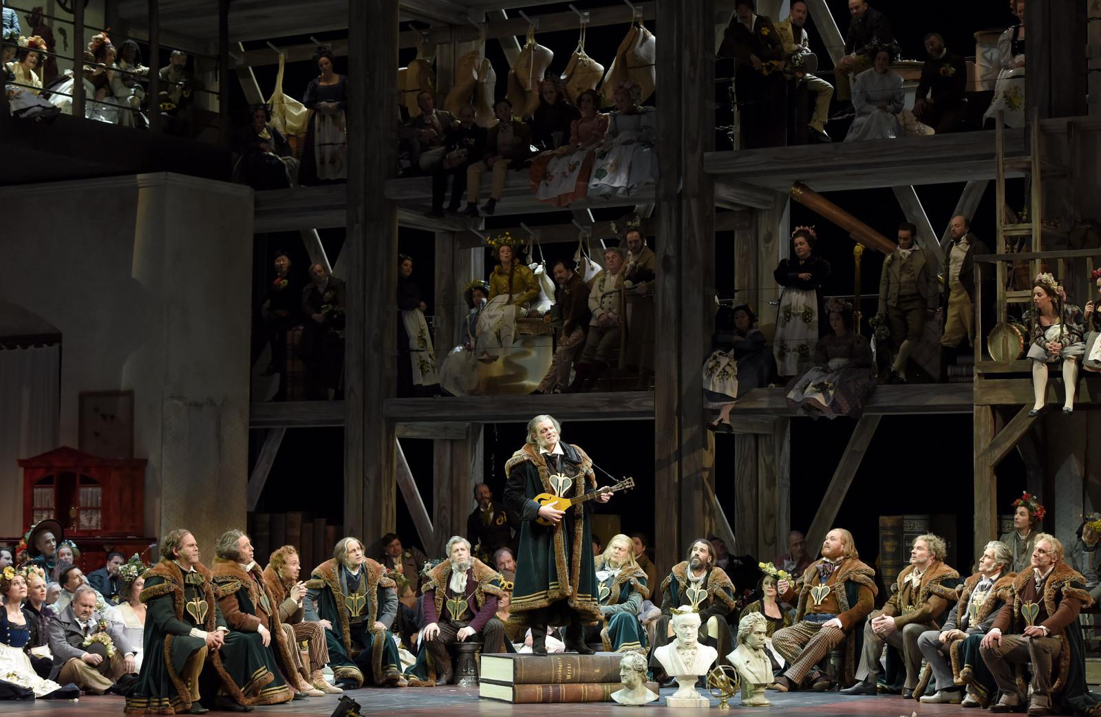 A Nuremberg au XVIème siècle, la confrérie des chanteurs est organisée en maîtres et en apprentis, et impose des règles strictes pour participer au concours de chant.